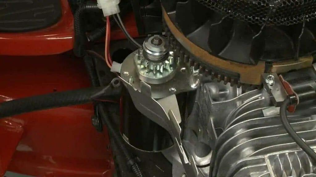 (closeup of a lawn mower starter)